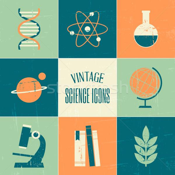 Сток-фото: Vintage · науки · иконки · коллекция · набор · стиль