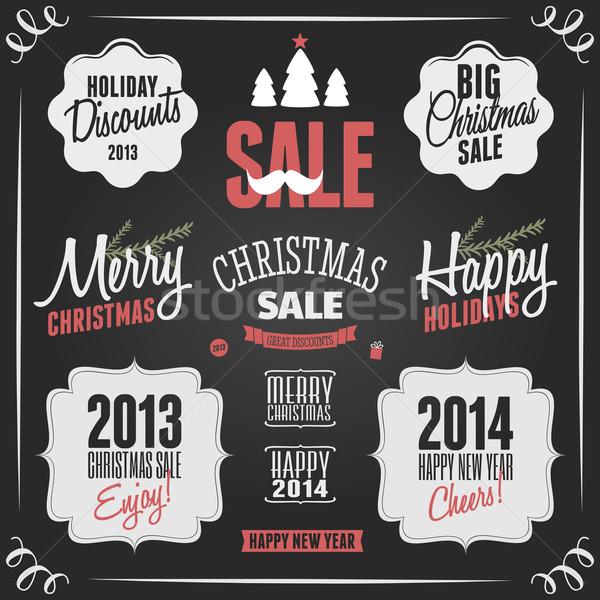 Stock fotó: Tábla · karácsony · terv · elemek · szett · stílus