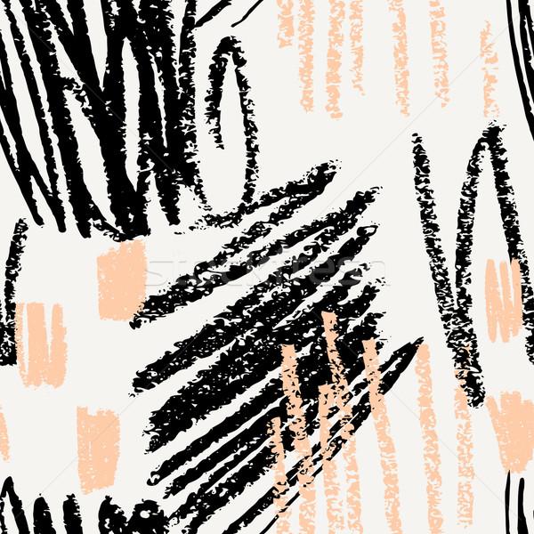 シームレス 抽象的な パターン 手描き 黒 クリーム ストックフォト © ivaleksa