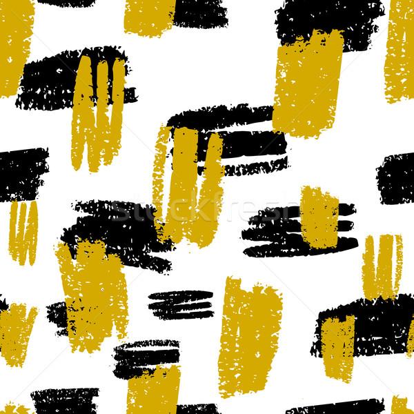 Résumé modèle dessinés à la main noir moutarde Photo stock © ivaleksa