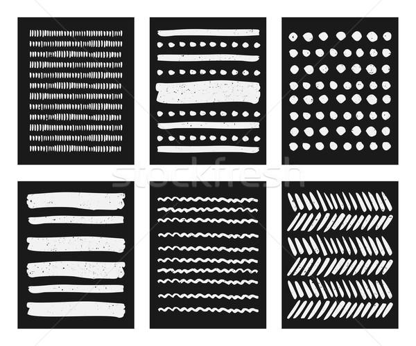 Hand Drawn Brush Strokes Patterns Collection Stock photo © ivaleksa