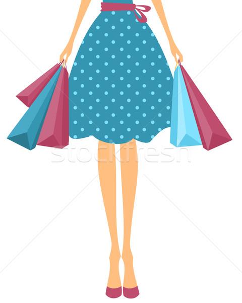 Meisje illustratie cute jurk Stockfoto © ivaleksa