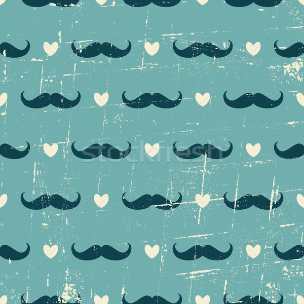 Seamless Mustache and Hearts Background Stock photo © ivaleksa