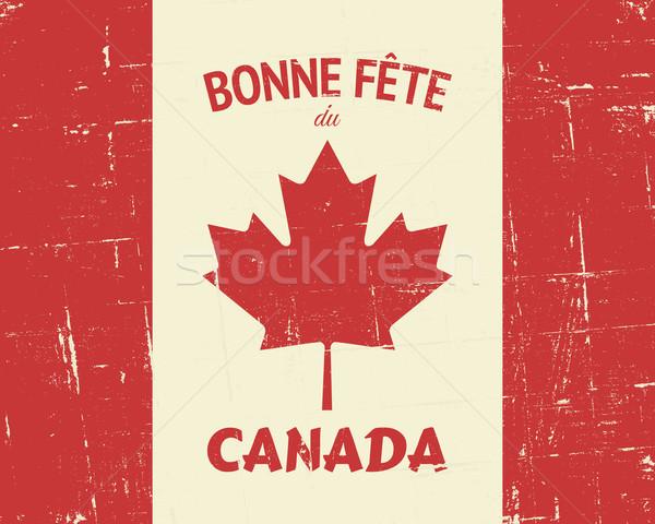 Vintage Canadá dia cartaz francês feliz Foto stock © ivaleksa