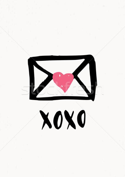 Sevgililer günü kart sevimli modern tebrik kartı şablon Stok fotoğraf © ivaleksa