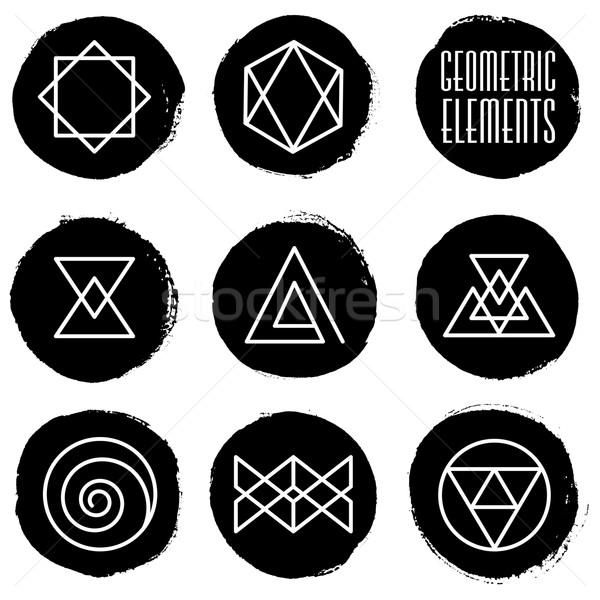 Foto stock: Pintura · círculos · geométrico · elementos · establecer · dibujado · a · mano