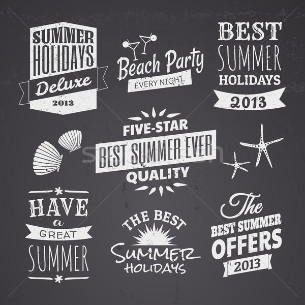 Nyár tábla dizájnok szett stílus tipográfiai Stock fotó © ivaleksa