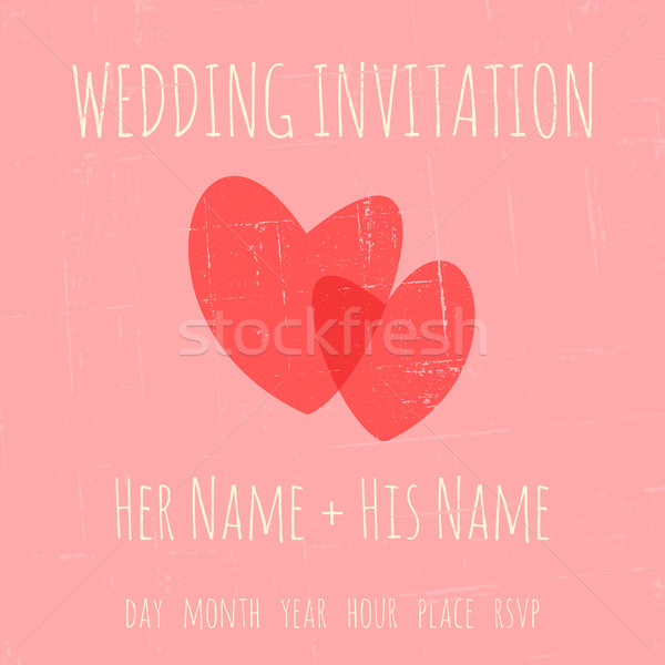 Esküvői meghívó sablon klasszikus kettő szívek pasztell Stock fotó © ivaleksa