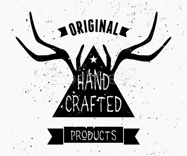 Antlers and Triangle Label Design Stock photo © ivaleksa