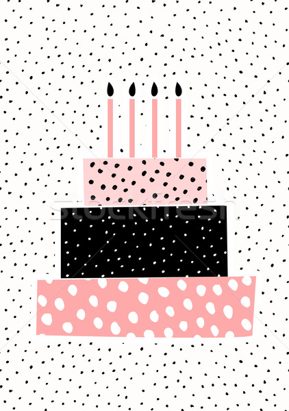 Birthday Cake Greeting Card Design Stock photo © ivaleksa