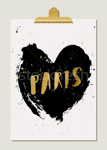 Black Heart Paris Poster Stock photo © ivaleksa