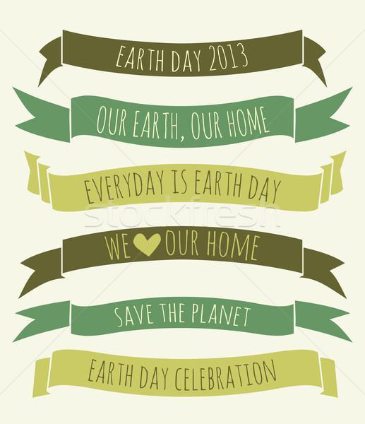 Föld napja bannerek gyűjtemény szett zöld papír Stock fotó © ivaleksa