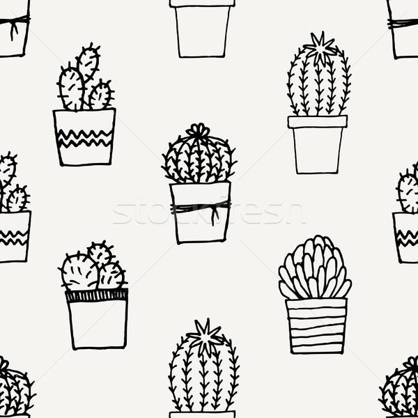 рисованной кактус шаблон бесшовный повторять сочный Сток-фото © ivaleksa
