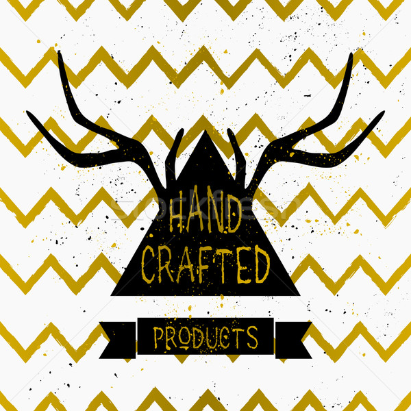 Antlers and Triangle Chevron Pattern Label Design Stock photo © ivaleksa