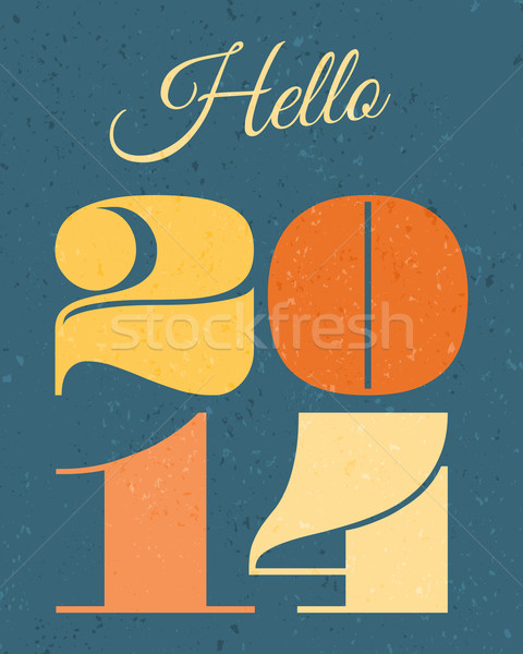 2014 Новый год карт ретро дизайна Сток-фото © ivaleksa