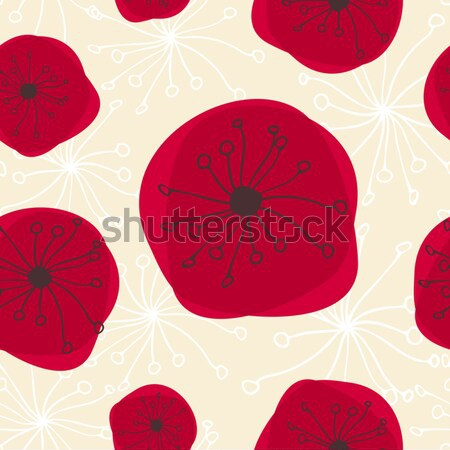 Stockfoto: Naadloos · patroon · abstract · bloemen · Rood