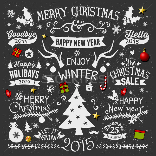 Chalkboard Christmas Design Elements Collection Stock photo © ivaleksa