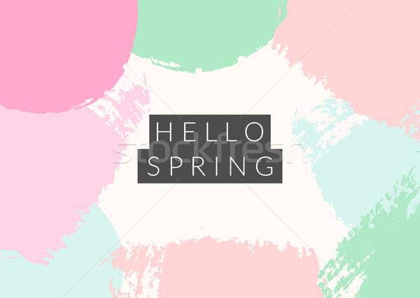 Hallo Frühling Design Text schwarz abstrakten Stock foto © ivaleksa