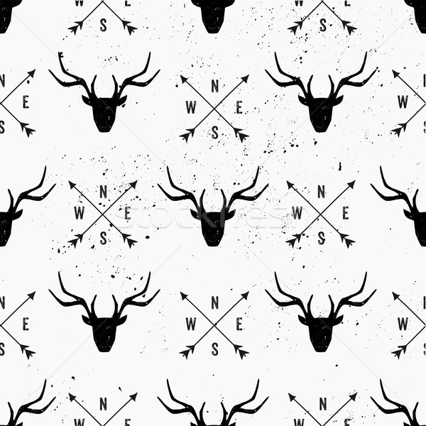 Deer Head and Arrows Seamless Pattern Stock photo © ivaleksa