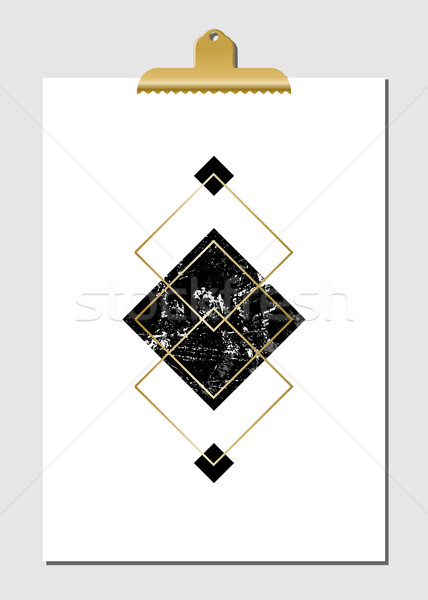 Сток-фото: геометрический · плакат · черный · бирюзовый
