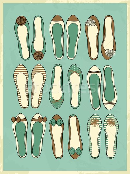 Ballerina schoenen collectie ingesteld cute vintage Stockfoto © ivaleksa