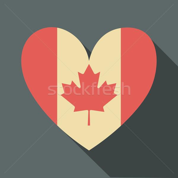 Drapeau canadien icône design longtemps ombre forme Photo stock © ivaleksa