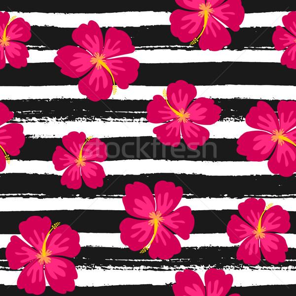 Stockfoto: Hibiscus · bloemen · naadloos · herhalen