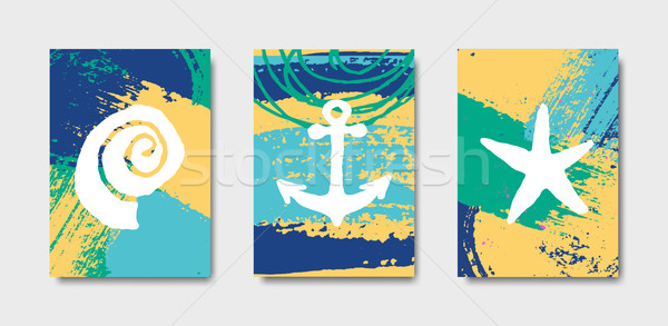 Hand Drawn Summer Design Cards Collection Stock photo © ivaleksa