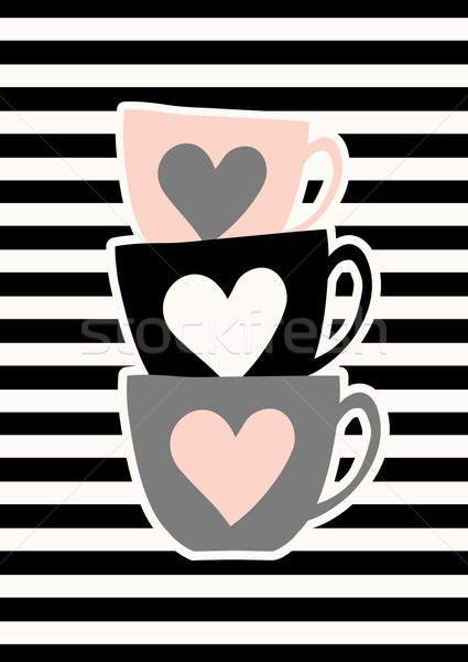 Cute affiche design tasses de café Photo stock © ivaleksa