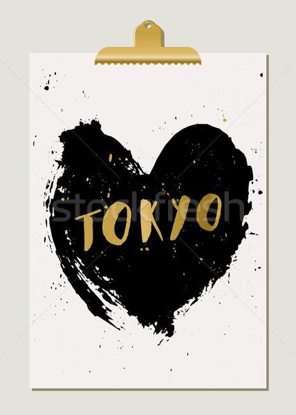 Preto coração Tóquio cartaz moderno elegante Foto stock © ivaleksa