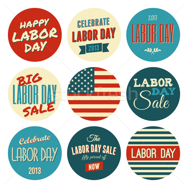 American Labor Day Sickers Collection Stock photo © ivaleksa