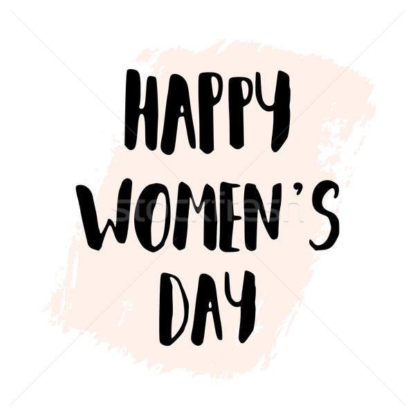 Feliz día de la mujer internacional mano texto negro Foto stock © ivaleksa