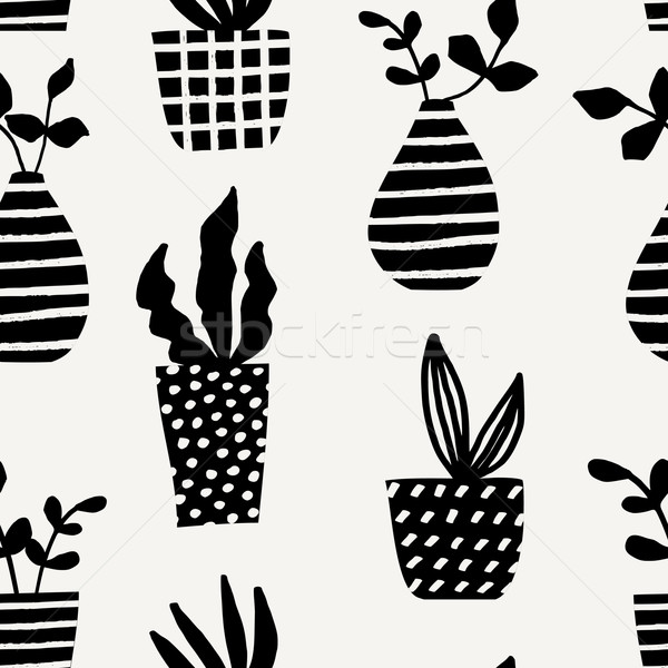 Senza soluzione di continuità pattern nero crema Foto d'archivio © ivaleksa