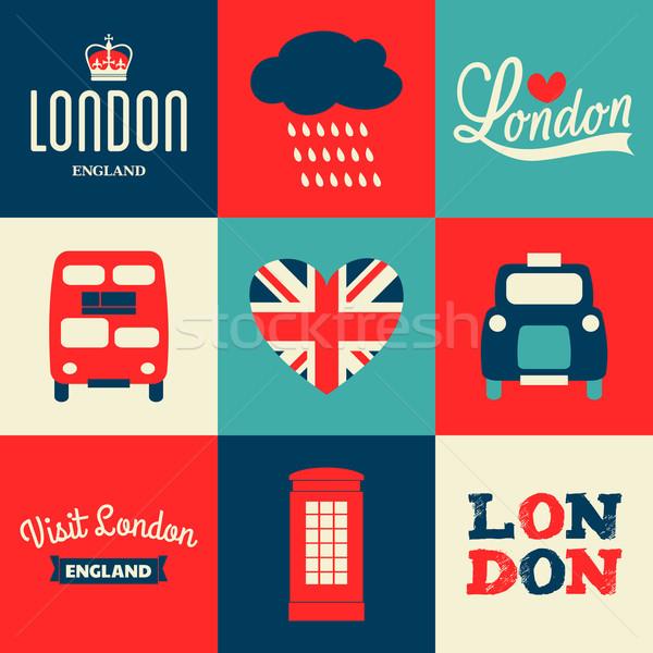 London kártyák gyűjtemény szett üdvözlet szimbólumok Stock fotó © ivaleksa