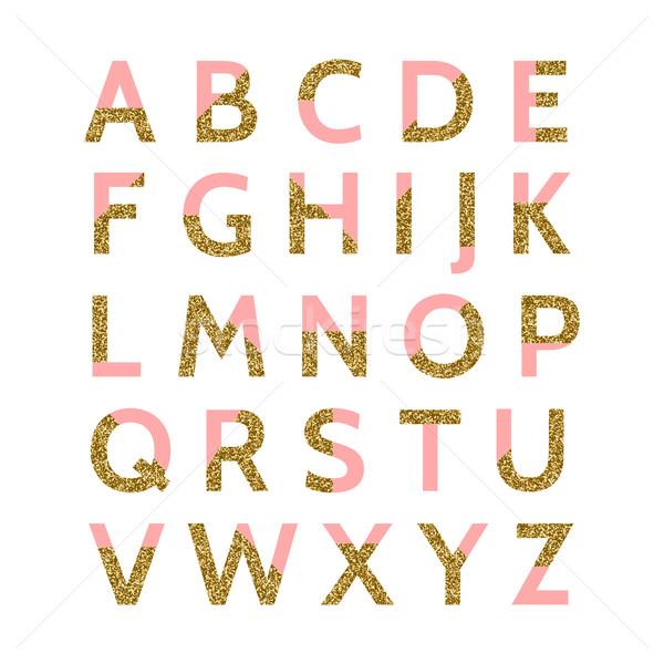 Rózsaszín arany csillámlás betűtípus pasztell dekoratív Stock fotó © ivaleksa