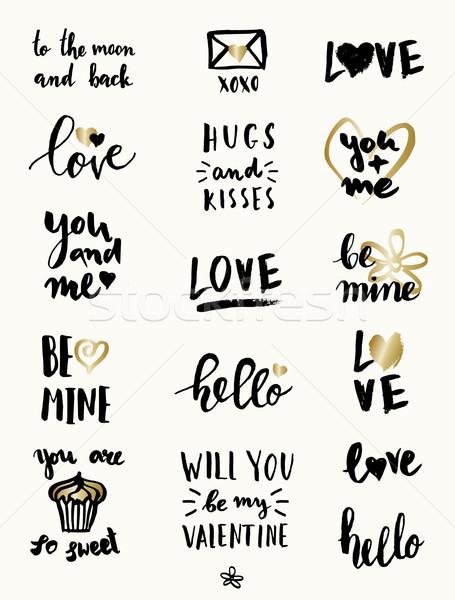 Día de san valentín tipográfico diseños establecer cute moderna Foto stock © ivaleksa