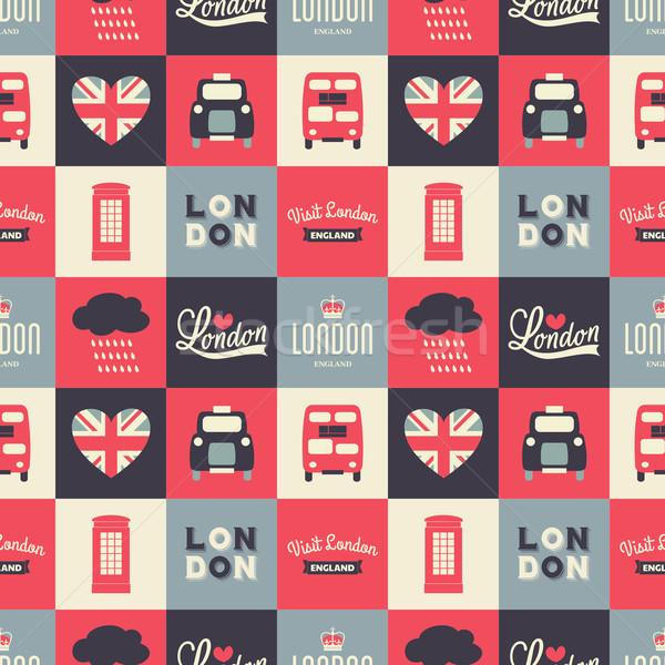 Sin costura Londres repetir patrón símbolos blanco Foto stock © ivaleksa