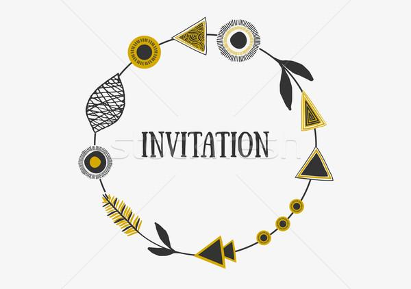 Tribal quadro convite projeto abstrato geométrico Foto stock © ivaleksa