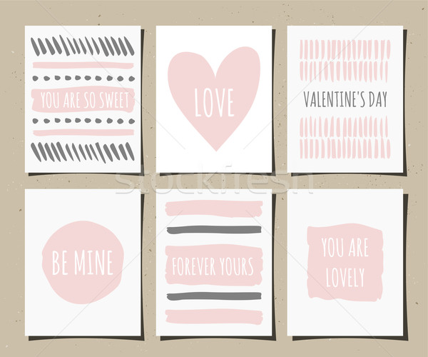 Stock photo: Hand Drawn Greeting Cards Collection