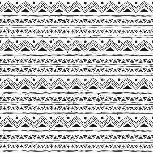 бесшовный племенных рисованной стиль шаблон черно белые Сток-фото © ivaleksa