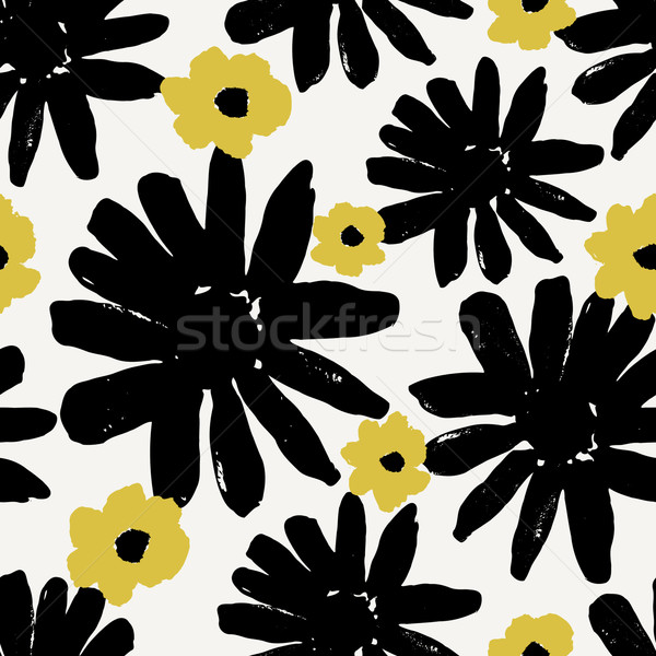 Photo stock: Dessinés · à · la · main · fleurs · modèle