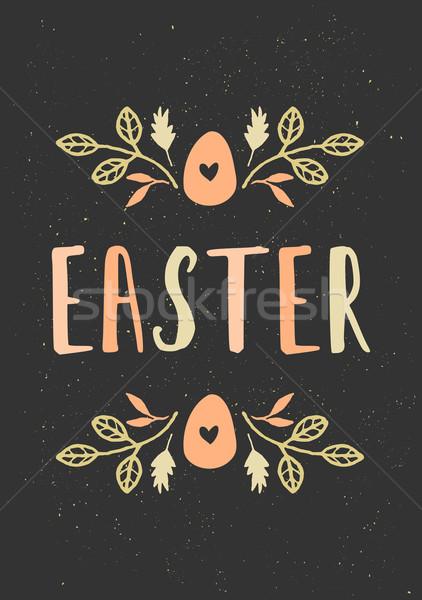 Foto stock: Dibujado · a · mano · Pascua · tarjeta · de · felicitación · plantilla · estilo · huevo · de · Pascua