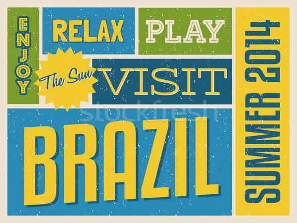 ретро Бразилия плакат дизайна ярко желтый Сток-фото © ivaleksa