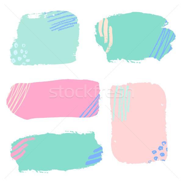 Stock photo: Colorful Brush Strokes Set