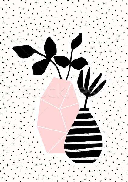 Rosa strisce vaso rami geometrica bianco nero Foto d'archivio © ivaleksa