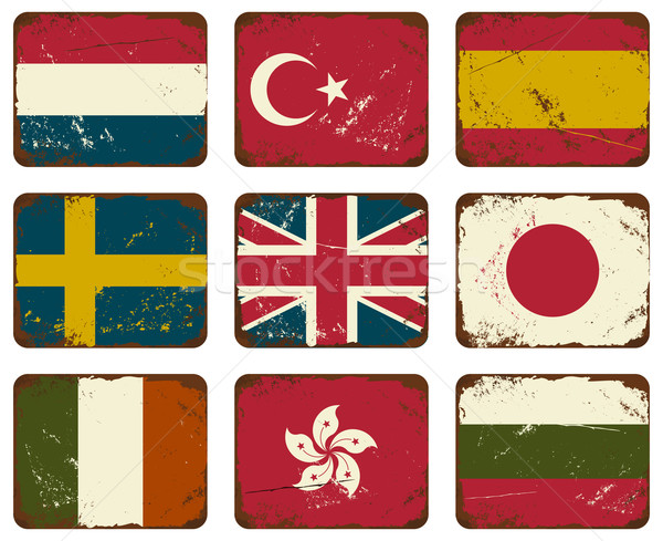 Vintage Metal Flags. Stock photo © ivaleksa