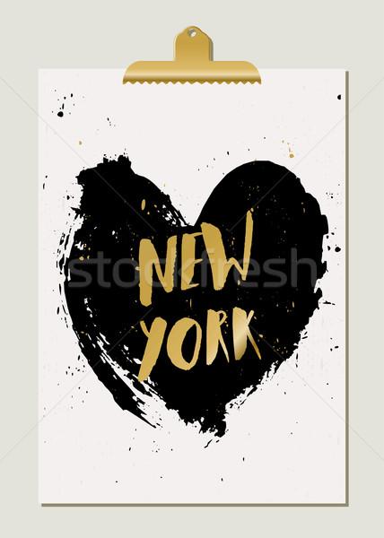 Black Heart New York Poster Stock photo © ivaleksa