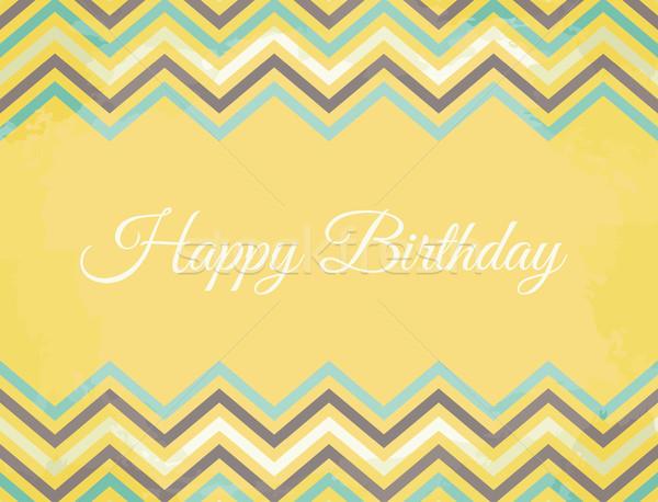 Model bağbozumu doğum günü tebrik kartı mavi Stok fotoğraf © ivaleksa