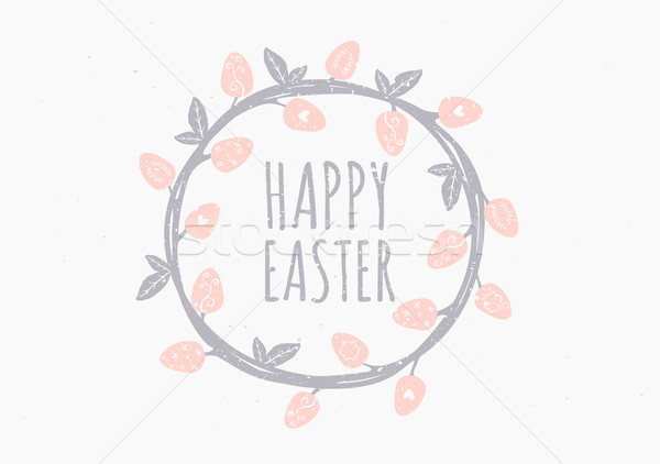 Paskalya tebrik kartı şablon stil paskalya yumurtası Stok fotoğraf © ivaleksa