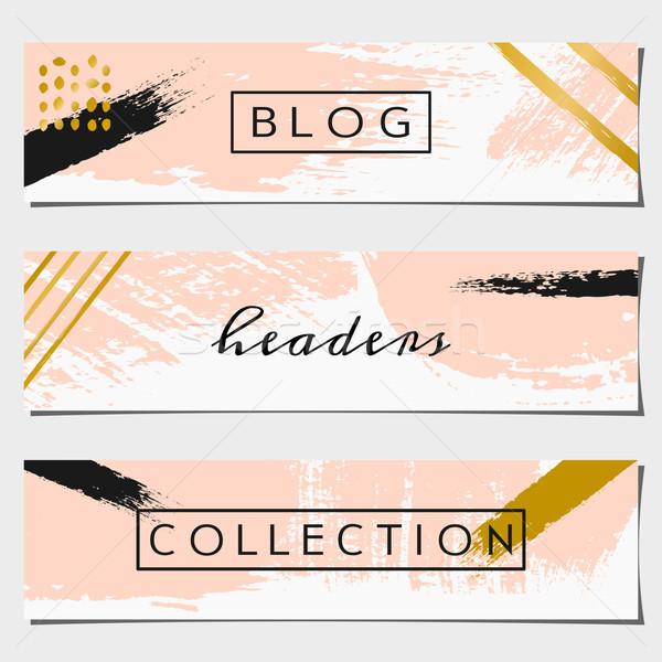 Abstract Brush Strokes Website Headers Collection Stock photo © ivaleksa